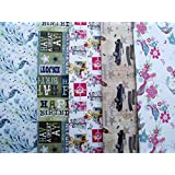 Image of 10 SHEETS OF MALE, FEMALE WRAPPING PAPER - BUTTERFLY, BIRDS, PRESENTS, FLOWERS, VINTAGE CARS, PEACOCK & HAPPY BIRTHDAY (2 sheets of 5 designs) - Comparsion Tool