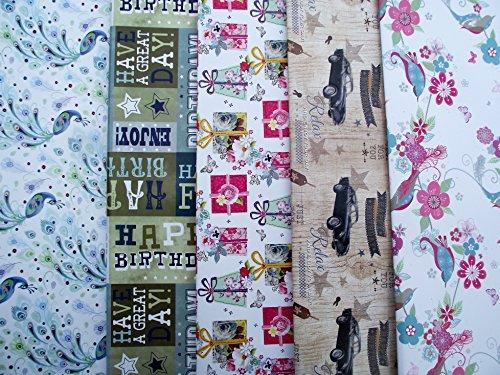 10hojas de papel de regalo macho, hembra-mariposa, mariposas, presenta, flores, Vintage Cars, diseño de cachemira y feliz cumpleaños (2hojas cada uno de 5Diseños)