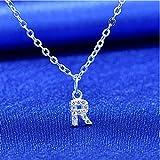 bifriend S925 Plata 26 Inicial inglés Carta Crystal Cadena Collar para Mujeres Chica Mejor Regalo (R)
