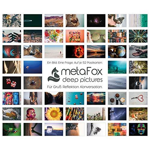 metaFox - Postkarten-Set der besonderen Art (Deutsch), mit 52 Karten - Kartenset Konversation Spiel Achtsamkeit Coaching Tool Motivationskarten Gefühlskarten Kommunikationstraining Hochzeit Mediation