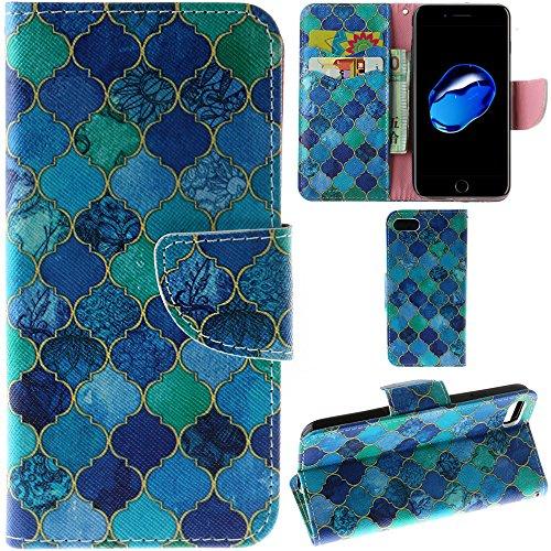 Ooboom® iPhone 8/iPhone 7 Hülle Flip PU Leder Schutzhülle Handy Tasche Case Cover Wallet Standfunktion mit Kartenfächer für iPhone 8/iPhone 7 - Anker Bunt Laternen Blau