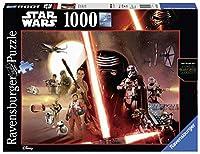 Puzzle panorama Ravensburger da 1000 pezzi raffigurante i personaggi dell'episodio VII di Star Wars - Il Risveglio della Forza.La superiorità dei puzzle Ravensburger è riconosciuta, ogni singolo pezzo è unico e si incastra perfettamente con g...
