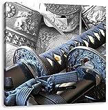 edle Samurai-Schwerter B&W Detail, Format: 40x40 auf Leinwand, XXL riesige Bilder fertig gerahmt mit Keilrahmen, Kunstdruck auf Wandbild mit Rahmen, günstiger als Gemälde oder Ölbild, kein Poster oder Plakat