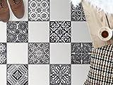 Bodenfliesen Spiegel Dekorationssticker   Fliesen-Sticker Aufkleber Folie selbstklebend Bad renovieren Küche Bad Ideen   30x30 cm Muster Ornament Black n White - 9 Stück