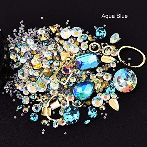 Bunte Strasssteine   für Nägel 3D Kristall Steine   Nail Art Dekorationen Diy Design Maniküre Rose Dekoration, Aqua Blue -