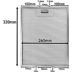 Spares2go Universal Filtro de malla de Metal para todas las marcas de campana extractora/extractor ventilación (plata, 320 x 260 mm)