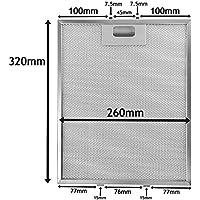 SPARES2GO Universal - Filtro de malla para todas las marcas de campana extractora (320x 260mm)