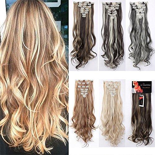 60cm gewellt/gelockt Clip in Haarverlängerung Haarteile 8Tressen/SET 18Clips Hair Extensions Vollhaarteil Perücke DE NEU Braun Blond Schwarz