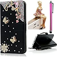 Vandot 3 in1 Set Lusso Classico Nero Attraente Ultra Sottile Flip Folio per Huawei P8 Lite PU Pelle Leather Case di Silicone Housing Shell 3D Rosa Pearl Farfalla DIY Protector Custodia Cover Magnete Snap-on Stile - Rosa Farfalla + Cristallo Strass Fairy Angelo Girl Anti-Dust Spina con Metallo Rosa Screen Touch Stylus Stilo