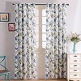 Top Finel cortina transparente de paneles para sala de estar,visillo de jardin bloom, 195 CM anchura por 245 CM longitudojales,solo panel,azul