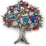 Mehrfarbig, 'Lebensbaum'-Brosche, Rotguss-Finish