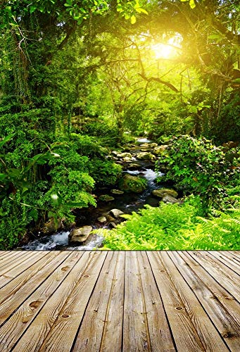 vrupi 3x5ft Vinyl Backdrop Photography Weathered Texture Stripe Wooden Forest Stream Stone River Green Trees Sun Shine Scenic Adults Children Portraits Backdrop 1(W) x1.5(H) M Photo Studio Prop