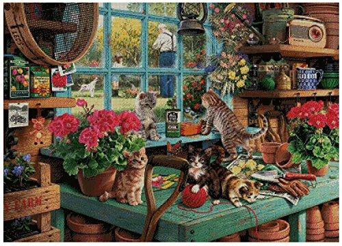 Unbekannt Kreuzstich-Set, Motiv Katzen und Garten, 14 Karat, 400 x 286 Stich, 82 x 63 cm, ägyptische Baumwolle -