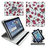 Weisse Blumen Tablet Tasche Schutz Hülle für 10 Zoll Jay-Tech / CANOX Tablet PC 101