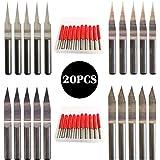 CESFONJER 20 st hårdmetall PCB graveringsbits CNC routergravering bits verktygssats 0,1 mm 10° 15° 0,2 mm 20° 30°