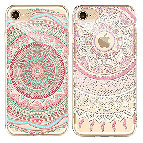 Doppel-Pack (Packung mit 2) iPhone 5/5S/SE Hülle, iPhone 5/5S/SE Silikon Hülle [Kratzfeste, Scratch-Resistant], Sunroyal® iPhone 5/5S/SE Hülle TPU Case Schutzhülle Silikon Crystal Kirstall Clear Case Pattern 04