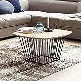 WOHNLING Couchtisch SKANDI Retro Design MDF-Holz Eiche 72 x 40 x 72 cm | Wohnzimmertisch mit Metall-Gestell | Sofatisch Kaffeetisch flach