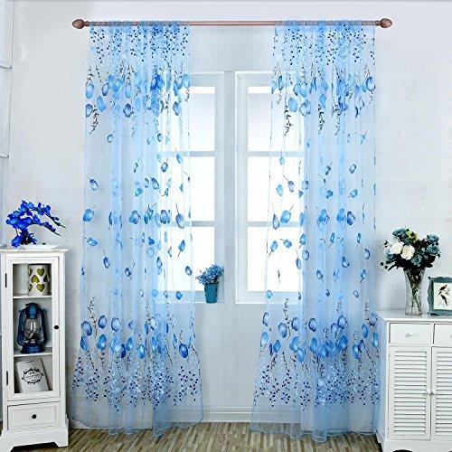 Aolvo Gardinen für Wohnzimmer, Mode Wohnkultur 7 Farbe Pastoralen Europa Stil Tulpe Blumenmuster Chiffon Fenster Vorhang (Gardinen, 63 Zoll Länge)