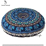 Ganesham Handicrafts- Indian Tapestry Round Floor Pillow, Indian Pouf, Decorative Mandala Cushion Cover, Elephant Pillow, Boho PIllow, Handmade Round Mandala Seating Pouf Ottoman