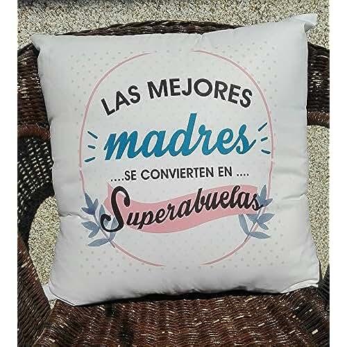 ofertas para el dia de la madre COJIN CON FRASE LAS MEJORES MADRES SE CONVIERTEN EN SUPER ABUELAS REGALO PARA MAMÁ Y ABUELA.REGALO DIA DE LA MADRE.