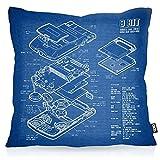 VOID 8 Bit Handheld Blaupause Kissenbezug Kissenhülle Outdoor Indoor Videospiel, Kissen Größe:50 x 50 cm