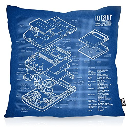 VOID 8 Bit Handheld Blaupause Kissenbezug Kissenhülle Outdoor Indoor Videospiel, Kissen Größe:40 x 40 cm