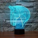 3D Lamp USB Power 7 Colors Amazing Optical Illusion 3D Grow LED Lamp Horse Head Shapes Kids Bedroom Night Light