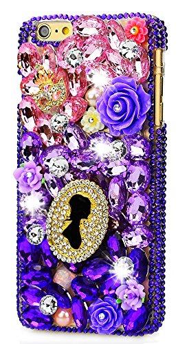 iPhone X Hülle, STENES Strass 3D Handgefertigt Diamant Schutz Handy Tasche Kristall Hülle für iPhone X mit Retro Anti Staub Stecker - Kristall Mädchen Rose Blumen Maske / (Awesome Masken)