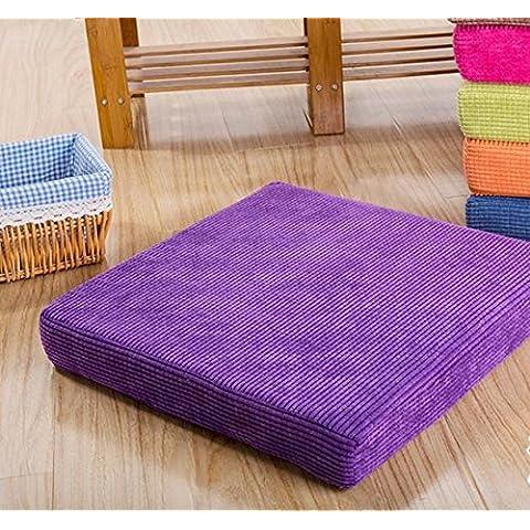 LY&HYL Tatami cuscini imbottiti con noccioli pad cuscino pranzo sedia cuscino posteriore imbottitura in velluto a coste , section of purple. , 50*50cm