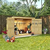 BillyOh 6x4 Tongue and Groove Wooden Shed Pent Bike Storage Double Door Roof Felt