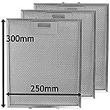 SPARES2GO - Filtro universale a rete metallica antigrasso per aspiratore cappa da cucina (confezione da 3, colore argento, 300 x 250 mm)