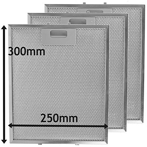 fettfilter metall universal SPARES2GO Universal-Dunstabzugshaube Metall Mesh Fett Filter für Küche Abluftventilator (3 Stück Filter, silber, 300 x 250 mm)