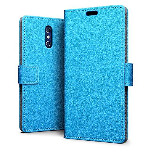 SLEO Doogee BL5000 Hülle, Leder Case PU Ledertasche Magnet [Vollständigen Schutz] Flip Case mit Standfunktion Kartenfächer im Bookstyle für Doogee BL5000 - Blau