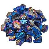 Shanxing Bleu Enduit de Titane Pierre brutes Cristal Perles Forées Irrégulière pour Fabrication de Bijoux Décoration(environ 460 grammes)