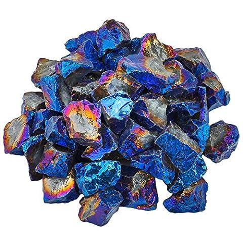 Shanxing naturelle pierres brutes Cristal de revêtement en titane à quartz percé Perles pour fabrication de bijoux (0,5kilogram, environ 460gram)