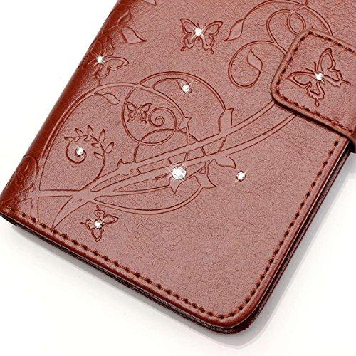 Wkae Case Cover Schmetterling und Blume Prägung Premium PU-Leder Tasche Cover Magnetischen Flip Wallet Stand Case Folio Stand Case mit Bling Diamond Resine Rhinestone Dekor für HUWEI Y625 ( Color : Pi Brown