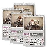 Fotocenter Calendarios Personalizados de Pared Espiral 21 x 30 cm de 14 páginas - Imprime tu Pack de 4 calendarios idénticos.