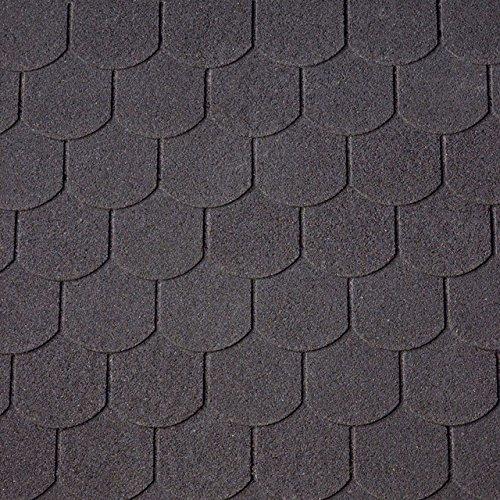 [13,33 EUR/m²] -Dachschindeln Biberschwanzschindeln schwarz, 3 m², Dachbelag, Bitumenschindeln Dacheindeckung Gartenhaus Dachschindeln