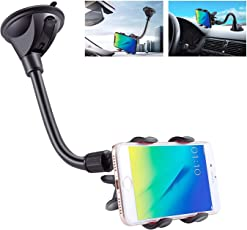Rapid Car Mobile Holder with Upgraded Double X-Shaped Clamp and Long Shockproof Arm and 360° Rotation Functionality which can be Used as a Windshield/Dashboard Car Mount or Car Phone Holder - Black