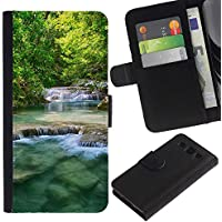 Billetera de Cuero Caso Titular de la tarjeta Carcasa Funda para Samsung Galaxy S3 III I9300 / Nature Beautiful Waterfalls / STRONG