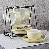 Juego determinado de la taza de té del té de la taza de café de cerámica del estilo europeo con la cuchara del sostenedor 8 pedazo ( Color : Amarillo )