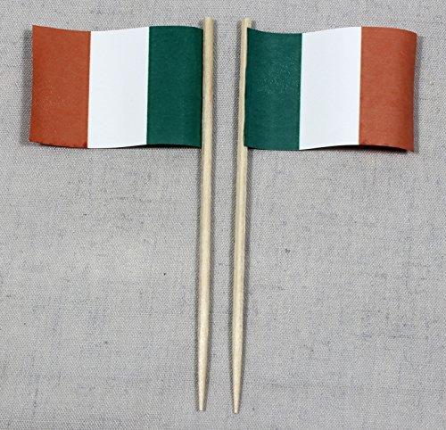 Party-Picker Flagge Irland Papierfähnchen in Spitzenqualität 50 Stück Beutel -