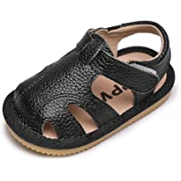 Baby Girls Boys Sandals Toddler Soft Leather Sandals Infant First Walking Soft Sole Shoes Newborn Baby Non-Slip Closed…