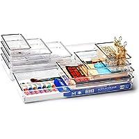 EZOWare Panier de Rangement Empilable en Plastique Transparent, Boîte de Rangement, Organiseur de Tiroir pour Bureau…