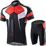 Lixada Heren fietsshirt set fiets korte mouwen set sneldrogend ademend shirt + 3D Cushion Shorts Gestoffeerde broek