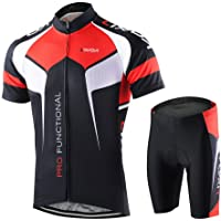 Lixada Men's Cycling Suit Short Sleeve Cycling Jersey Shirt + 3D Padded Riding Tights Quick Dry Cycling Clothing Set for…