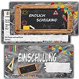 Einladung zur Einschulung Einladungskarten mit Umschlägen (12er Set) zum Schulanfang Set Einladungen für Kinder zum Schulbeginn Jungen Mädchen Schuleingang Schulbeginn