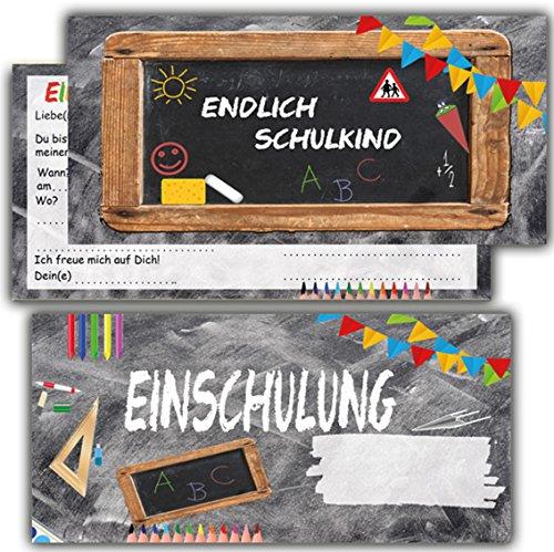 Einladung zur Einschulung Einladungskarten mit Umschlägen 12er Set zum Schulanfang Einladungen für Kinder Schulbeginn Schuleinführung Jungen Mädchen Schuleingang