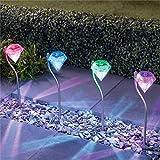 YeBon - Set di 4 lanterne da giardino in acciaio inox a energia solare, a forma di diamante Rgb