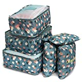 Styleys Polyester, Nylon and Leather Waterproof Blue Floral Travel Garment Bag - Set of 6